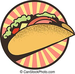 Round emblem of tacos, vector illustration