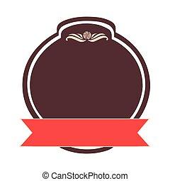 round emblem ribbon icon