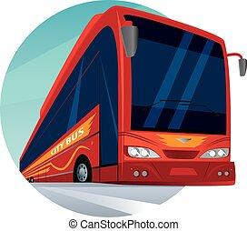 Round emblem with a modern passenger city bus
