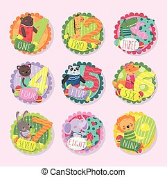 Round emblems with numbers from 1 to 9 and different animals. Bear, giraffe, crocodile, kitten, panda, fox, bunny, elephant, lion. Flat vector for education card or math book