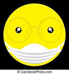 round emoji doctor emoticon smile in a protective medical bandage and glasses. Isolated vector on black background
