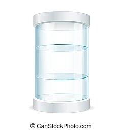 Round Empty Glass Showcase for Exhibit. Vector