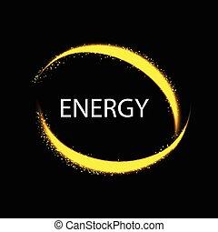 Round energy frame. Magic light neon energy circle.