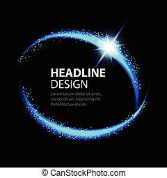 Round energy frame. Shining circle banner. Magic light neon energy circle.