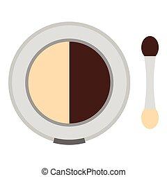 Round eye shadow icon, flat style