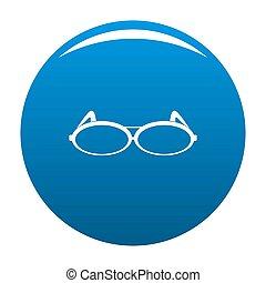 Round eyeglasses icon blue