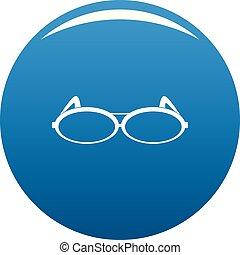Round eyeglasses icon blue vector