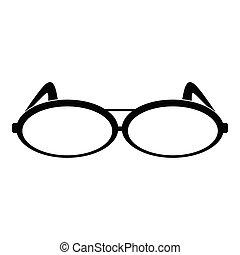 Round eyeglasses icon, simple style.