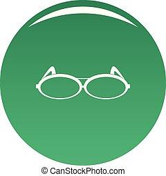 Round eyeglasses icon vector green