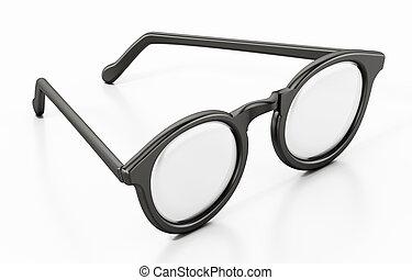Round eyeglasses isolated on white background. 3D illustration