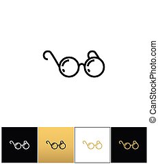Round eyeglasses or black glasses vector icon