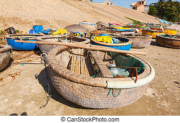 round fishing boat bay Vietnam