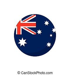 round flag button australia icon on white background