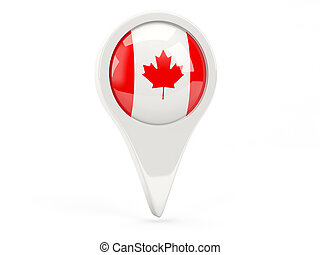Round flag icon of canada