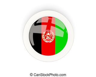 Round flag of afghanistan with carbon frame