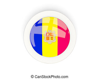 Round flag of andorra with carbon frame