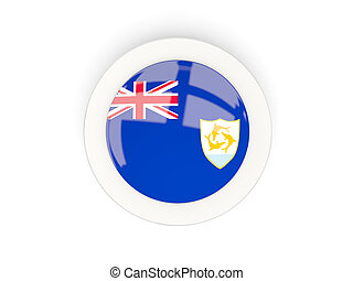 Round flag of anguilla with carbon frame