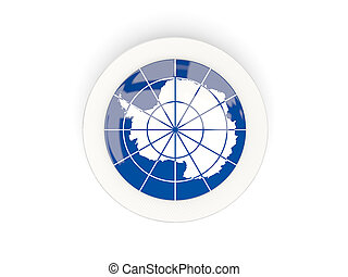 Round flag of antarctica with carbon frame