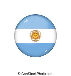 Icon flag of Argentina . Round glossy flag. Vector illustration. EPS 10