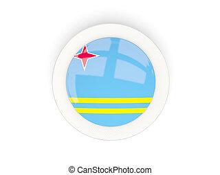 Round flag of aruba with carbon frame