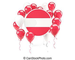 Round flag of austria with balloons