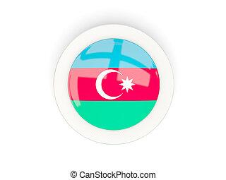 Round flag of azerbaijan with carbon frame