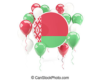 Round flag of belarus with balloons