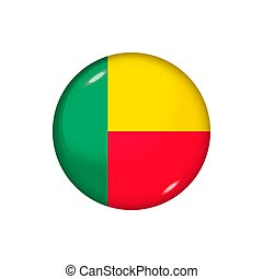 Round flag of Benin. Vector illustration. Button, icon, glossy badge