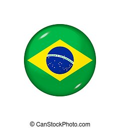 Round flag of Brazil. Vector illustration. Button, icon, glossy badge