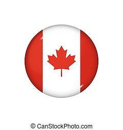 Round flag of Canada. Vector illustration. Button, icon, glossy badge