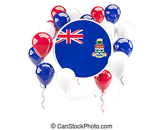 Round flag of cayman islands with balloons