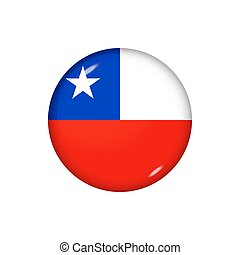 Round flag of Chile. Vector illustration. Button, icon, glossy badge