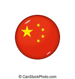 Round flag of China. Vector illustration. Button, icon, glossy badge