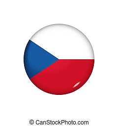 Round flag of Czech Republic. Vector illustration. Button, icon, glossy badge