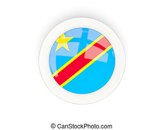 Round flag of democratic republic of the congo with carbon frame