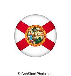 Icon flag of Florida . Round glossy flag. Vector illustration. EPS 10