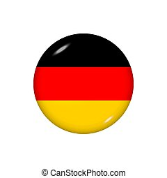 Round flag of Germany. Vector illustration. Button, icon, glossy badge