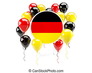Round flag of germany with balloons