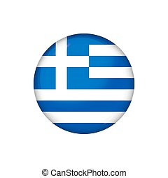 Round flag of Greece. Vector illustration. Button, icon, glossy badge