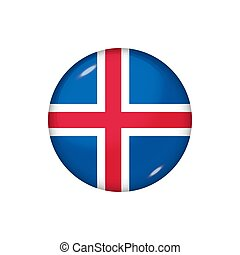 Round flag of Iceland. Vector illustration. Button, icon, glossy badge
