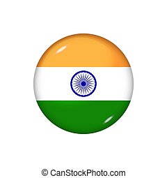 Round flag of India. Vector illustration. Button, icon, glossy badge