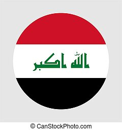 Round flag of Iraq country. Iraq flag with button or badge.