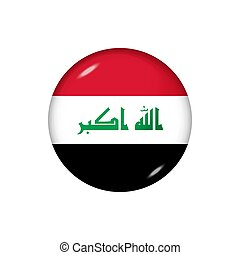 Round flag of Iraq. Vector illustration. Button, icon, glossy badge