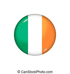 Round flag of Ireland. Vector illustration. Button, icon, glossy badge