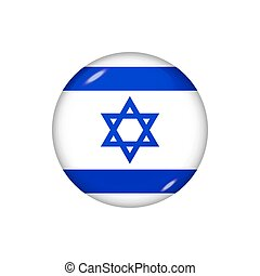 Round flag of Israel. Vector illustration. Button, icon, glossy badge