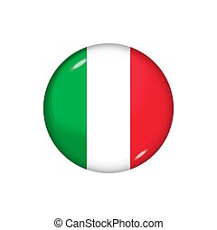 Round flag of Italy. Vector illustration. Button, icon, glossy badge
