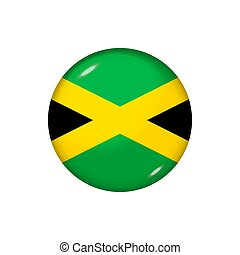 Round flag of Jamaica. Vector illustration. Button, icon, glossy badge