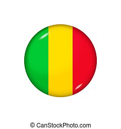 Round flag of Mali. Vector illustration. Button, icon, glossy badge