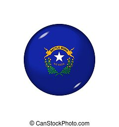 Round flag of Nevada. Vector illustration. Button, icon, glossy badge