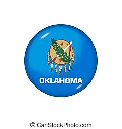 Round flag of Oklahoma. Vector illustration. Button, icon, glossy badge